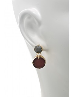 Frosted Stone Drop Earring