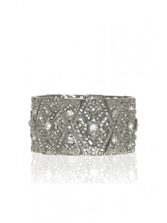 Deco crystal stretch bracelet-silver/crystal
