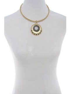 Pendant collar-gold/hematite