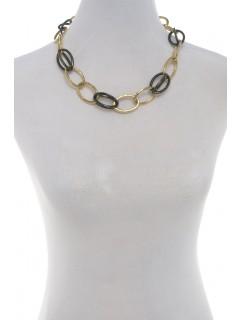 open link necklace-gold/gun