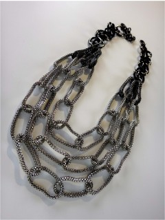 3 row mesh chain link necklace