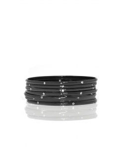 set of 7 metal/crystal bangles