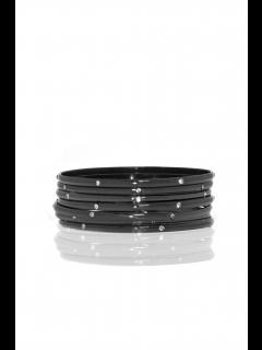 set of 7 metal/crystal bangles