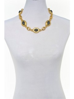 multi pendant choker necklace-gold/hem
