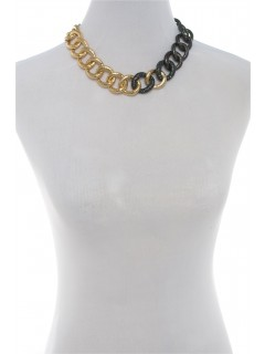 two tone chain link necklace-gold/gun
