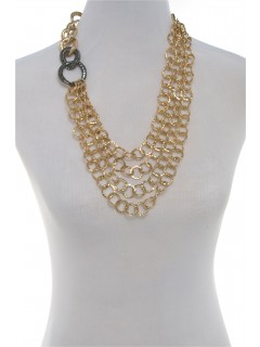 Multi row chain link necklace-gold/gun