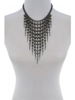 Cascading beaded bib necklace