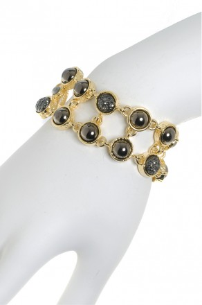 two row stone link bracelet-gold
