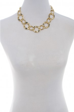 Baguette chain link necklace-gold/hematite