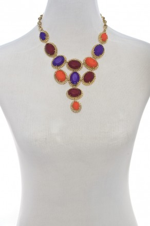 Colorful mosaic statement necklace-warm multi