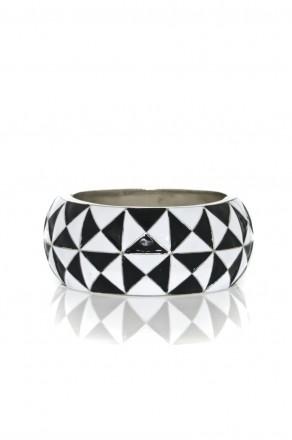 Checkered Enamel Hinge Cuff