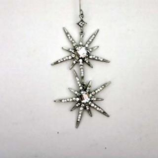 Starburst Earring- Silver/clear