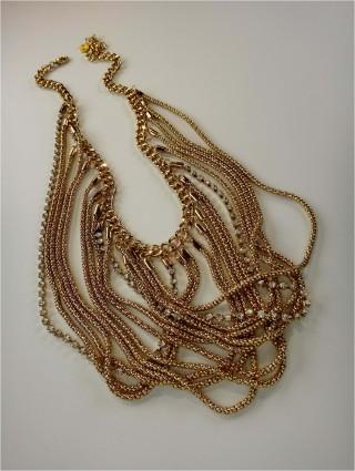draped chain bib necklace
