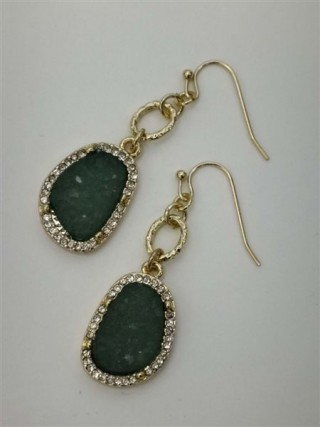 Druzy Drop Earring- gold/jade