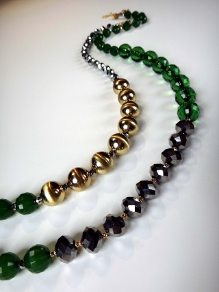 "36"" long colored beaded necklace"